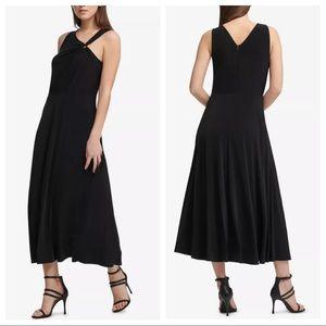 DKNY Black One Shoulder Matte Jersey Dress